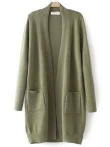 Army Green Long Sleeve Pockets Loose Cardigan