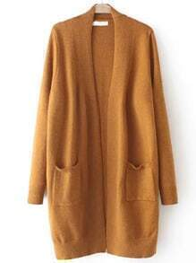 Khaki Long Sleeve Pockets Loose Cardigan