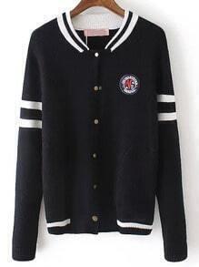 Black Long Sleeve Striped Sweater Coat