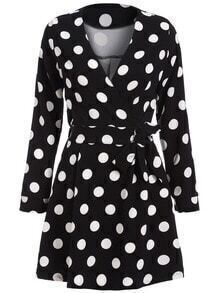 Black V Neck Polka Dot Tie-Waist Dress