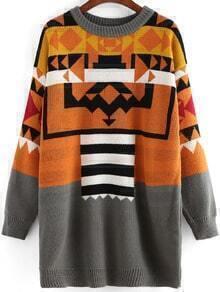 Colour Round Neck Geometric Print Dress