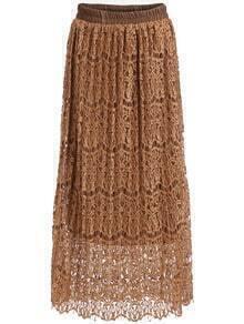 Khaki Elastic Waist Floral Crochet Lace Skirt
