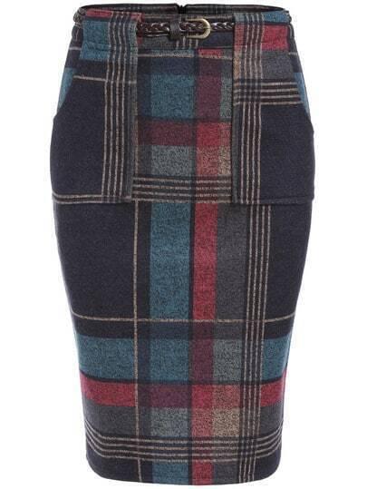Colour Slim Plaid Pockets Skirt
