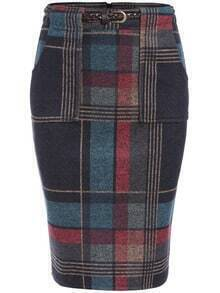 Colour Slim Plaid Pockets Skirt