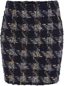 Navy Slim Plaid Bodycon Skirt