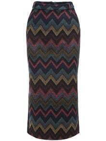 Colour Slim Wave Patterned Skirt