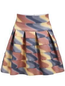 Colour High Waist Flare Skirt