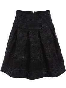 Black Striped Flare Skirt