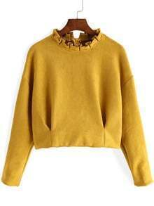 Yellow Frill Neck Long Sleeve Crop Top