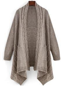 Apricot Long Sleeve Pockets Cable Knit Cardigan