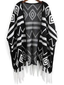 Black White Geometric Print Tassel Cardigan