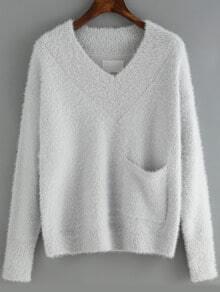 Light Blue V Neck Pocket Crop Sweater