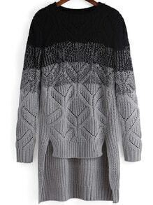 Black Ombre Geometric Patterned Dip Hem Sweater