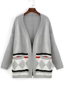 Grey Long Sleeve Diamond Print Pockets Sweater Coat
