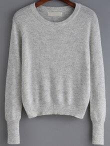 Grey Round Neck Crop Knitwear