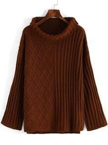 Khaki High Neck Diamond Patterned Loose Sweater
