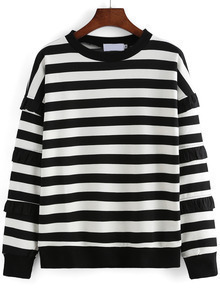 Black White Round Neck Striped Loose Sweater