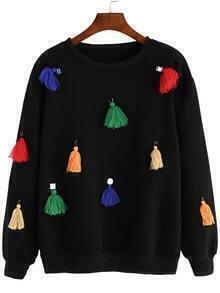 Black Round Neck Bead Tassel Sweatshirt