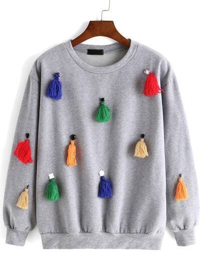 Grey Round Neck Bead Tassel Sweatshirt