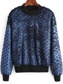 Blue Round Neck Fish Scale Patterned Sweatshirt