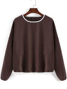 Coffee Round Neck Loose Crop Sweatshirt