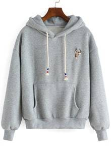 Grey Hooded Deer Embroidered Loose Sweatshirt