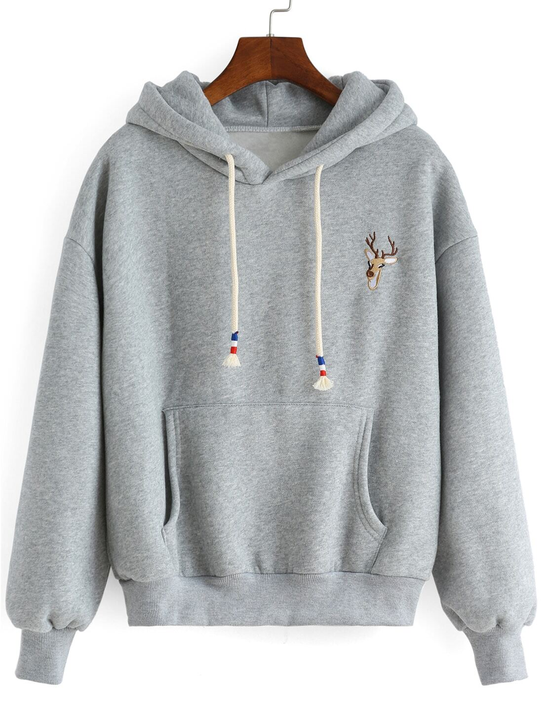 grey hooded deer embroidered loose sweatshirt shein sheinside. Black Bedroom Furniture Sets. Home Design Ideas