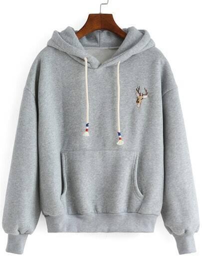 Grey Hooded Deer Embroidered Loose Sweatshirt
