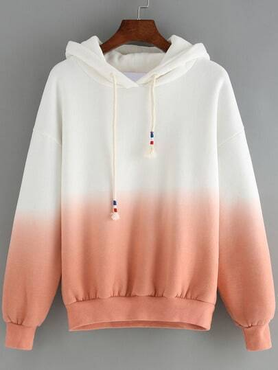 Pink Ombre Hooded Long Sleeve Loose Sweatshirt