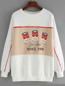White Round Neck Pepper Pot Print Sweatshirt