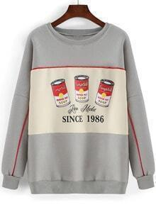 Grey Round Neck Pepper Pot Print Sweatshirt