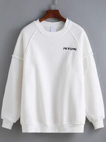 White Round Neck Grid Letters Embroidered Sweatshirt