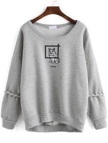 Grey Round Neck Dog Print Lace Up Sweatshirt