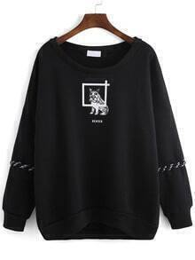 Black Round Neck Dog Print Lace Up Sweatshirt