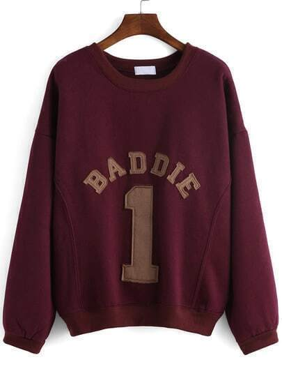 Burgundy Round Neck Letters 1 Patterned Sweatshirt