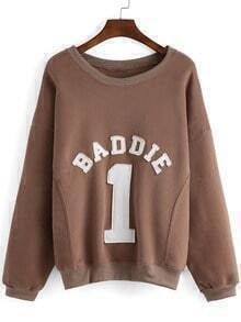 Coffee Round Neck Letters 1 Patterned Sweatshirt