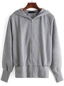 Grey Hooded Long Sleeve Loose Sweatshirt
