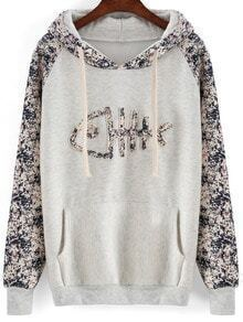 Grey Hooded Fish Bone Patterned Sweatshirt