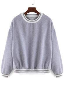 Grey Round Neck Crop Loose Sweatshirt