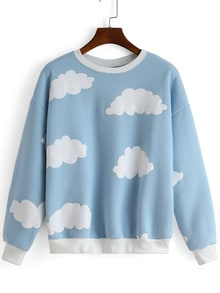 Blue Round Neck Cloud Print Sweatshirt