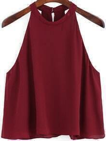 Burgundy Round Neck Loose Cami Top