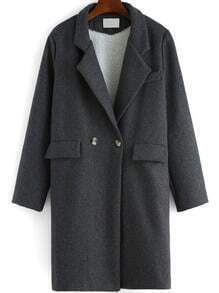 Grey Lapel Double Breasted Woolen Coat