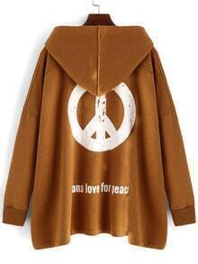 Khaki Hooded Antiwar Print Loose Coat