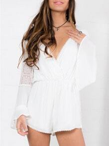 White Long Sleeve With Lace Playsuit