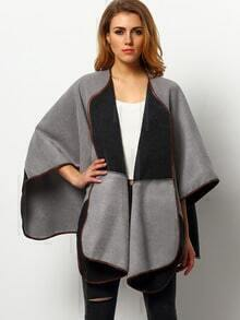 Grey Color Block Cape Coat
