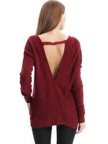 Red V Neck Backless Sweater