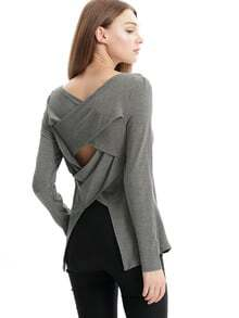 Grey Long Sleeve Cut Out T-Shirt