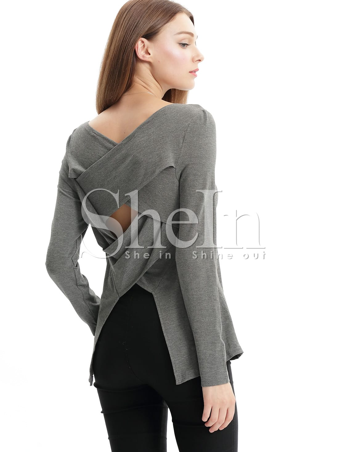 Grey long sleeve cut out t shirt shein sheinside for How to cut sleeves off a shirt