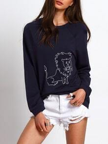 Navy Long Sleeve Lion Print Sweatshirt