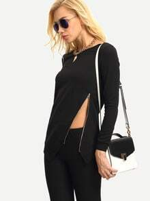 Black Long Sleeve Zipper Asymmetric Sweatshirt
